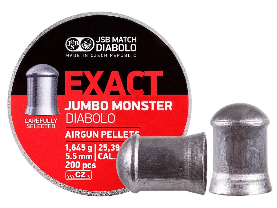 JSB Exact Jumbo Monster .22 Cal, 25.4 Gr, Domed, 200 ct
